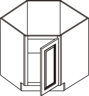 """36"""" Diagonal Corner Sink Base Cabinet (Full Doors) - Hinge Right"""