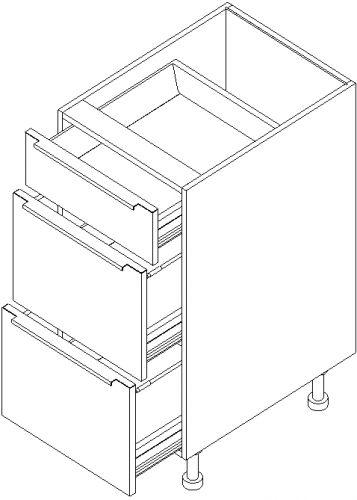 "15"" Vanity Drawer Base Cabinet 34.5""H: 3 Drawers"