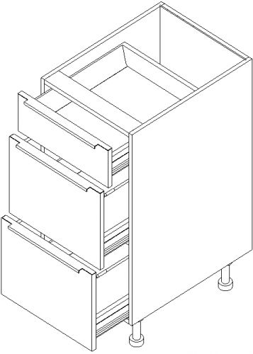 "12"" Vanity Drawer Base Cabinet 34.5""H: 3 Drawers"