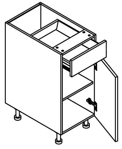 """Base Cabinet 21"""" :1 Door, 1 Drawer (Hinge Left)"""