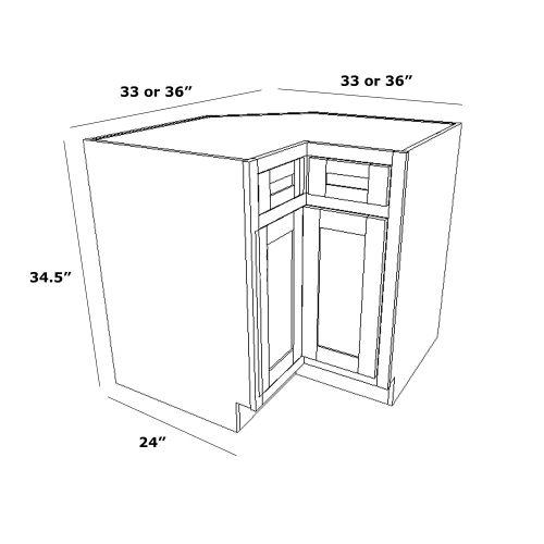 "Lazy Susan Corner Cabinet w/ Drawer 36"""
