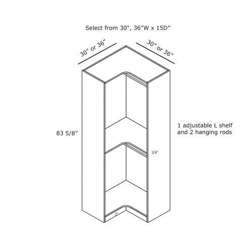 "Closet Tower Easy Reach Corner 30W x 15D x 84H"""