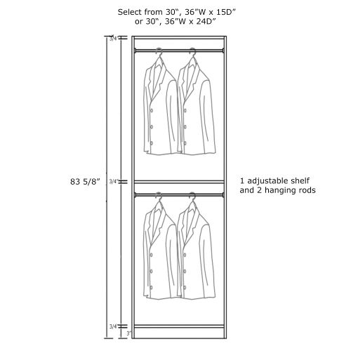 """Closet Tower With Hanging Rails 30W x 24D x 84H"""""""