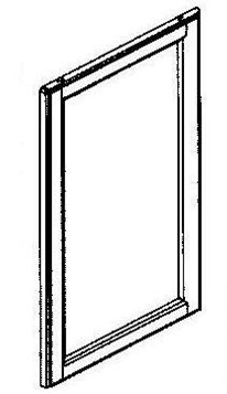 """Frosted Glass Door 15x42"""" Aluminum Frame"""