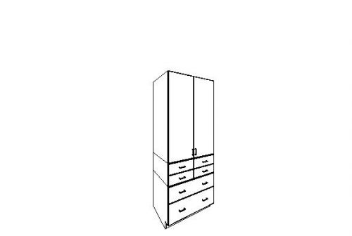 """Pantry Cabinet w/ Two Doors and Drawers 36"""" x 93"""""""