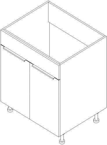"""27"""" Vanity Sink Base Cabinet 34.5""""H: 2 Door"""