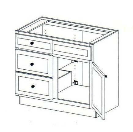 """36"""" Vanity with side drawers on the Left, 34.5""""H"""