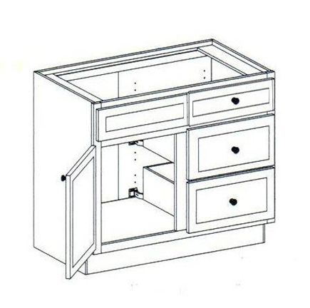 """36"""" Vanity with side drawers on the Right, 34.5""""H"""