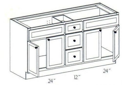 """60"""" Vanity double sink with center drawers, 34.5""""H"""