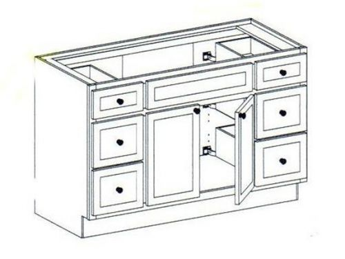 """48"""" Vanity with double side drawers, 34.5""""H"""