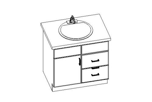 """Vanity Cabinet  w/ Side Drawers Right  30""""W x 32.5""""H x 21""""D"""